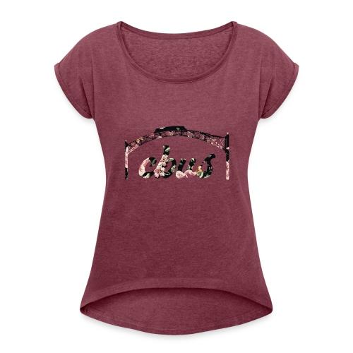CBUS Floral Arch {Dark} - Women's Roll Cuff T-Shirt