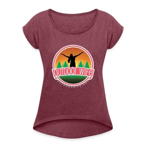 outdoorwifelogowhite 01 01 - Women's Roll Cuff T-Shirt