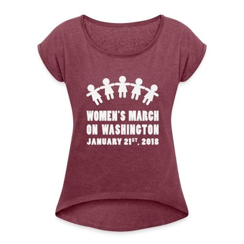 Women's March 2018 (White) - Women's Roll Cuff T-Shirt