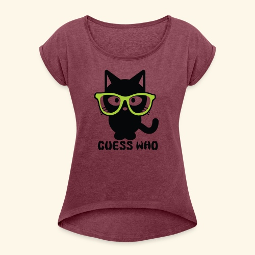 Guess Who Cat - Women's Roll Cuff T-Shirt