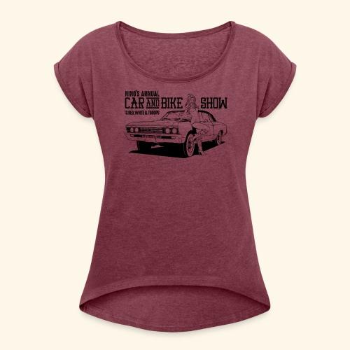 Nino's - Girl + Car Black - Women's Roll Cuff T-Shirt