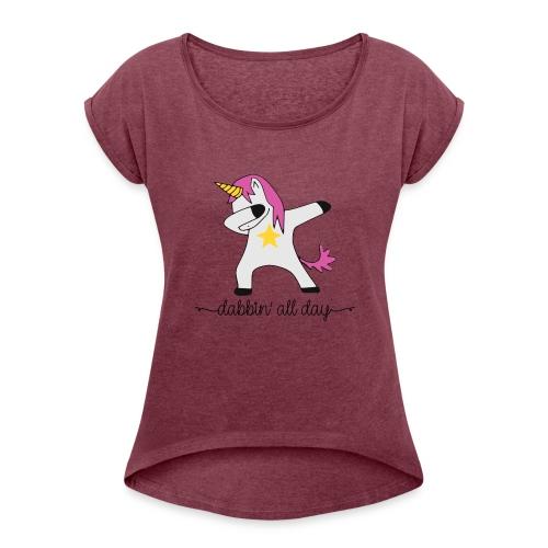 dabbing unicorn - Women's Roll Cuff T-Shirt