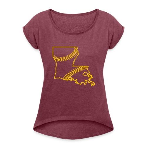Louisiana Baseball, Gold - Women's Roll Cuff T-Shirt
