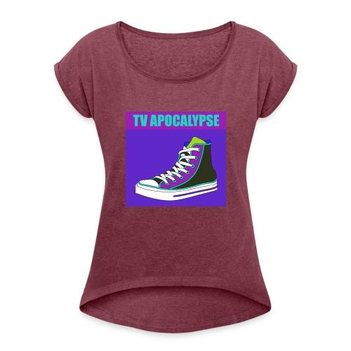 tvApocalypse Converse Shoe T-Shirt - Women's Roll Cuff T-Shirt