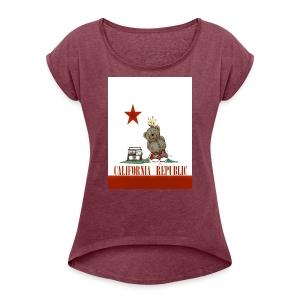 Lucky Number7 California Teddy NO Gunja Leaf - Women's Roll Cuff T-Shirt