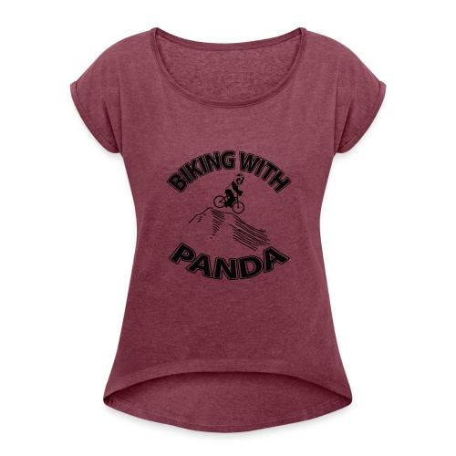 Biking with Panda - Women's Roll Cuff T-Shirt