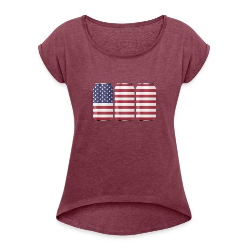 beer can USA Flag - Women's Roll Cuff T-Shirt