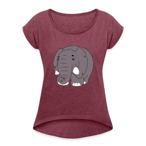 Sammy the Elephant - Women's Roll Cuff T-Shirt
