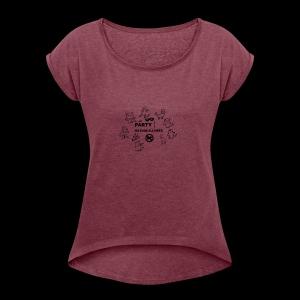 ALL CAT PARTY T-SHIRT - Women's Roll Cuff T-Shirt
