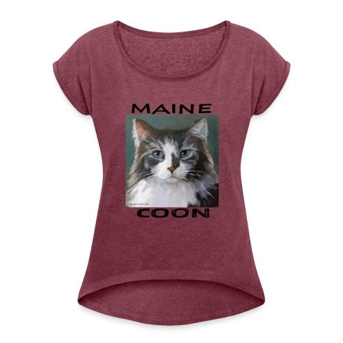 Maine Coon Cat - Women's Roll Cuff T-Shirt