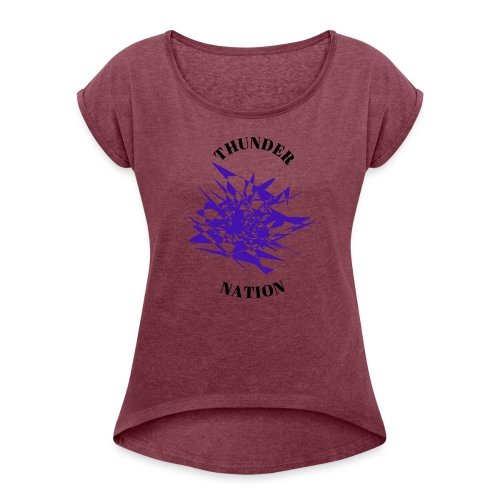 Thunder Nation Purple Star - Women's Roll Cuff T-Shirt