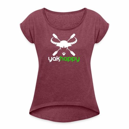 Yakhappy Logo Light - Women's Roll Cuff T-Shirt