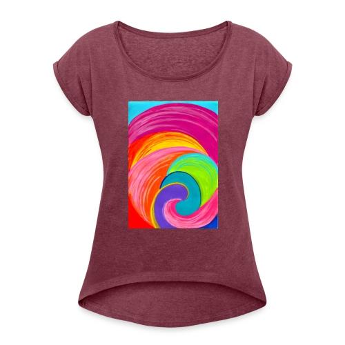 Colorful rainbow swirl - Women's Roll Cuff T-Shirt
