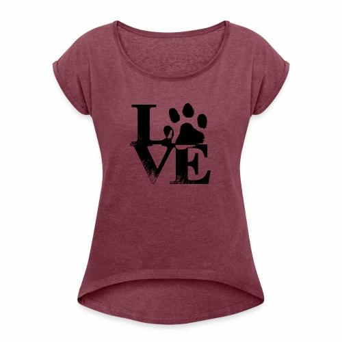 Luv Paw Print - Women's Roll Cuff T-Shirt