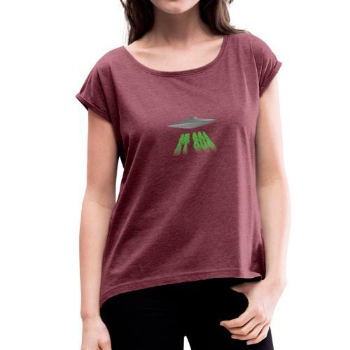 ET 808 'UFO Green' Logo - Women's Roll Cuff T-Shirt