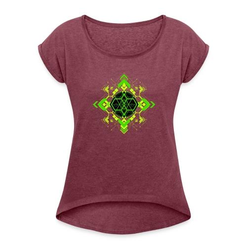 Design2_green - Women's Roll Cuff T-Shirt
