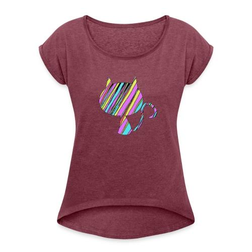 The Skis Cat - Women's Roll Cuff T-Shirt