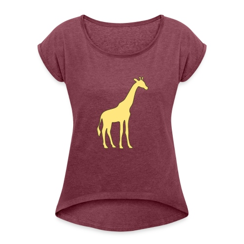 yellow giraffe - Women's Roll Cuff T-Shirt