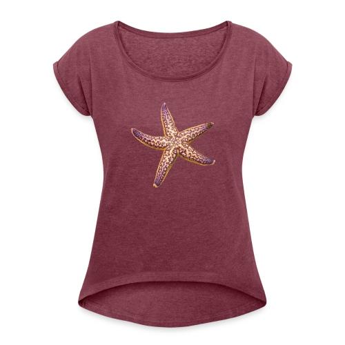 Pink 'n Purple starfish - Women's Roll Cuff T-Shirt