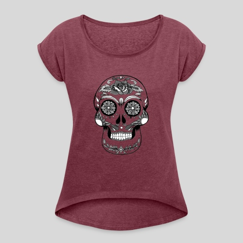 Catrina Black & White - Women's Roll Cuff T-Shirt