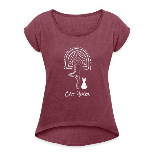 Cat Yoga - Women's Roll Cuff T-Shirt