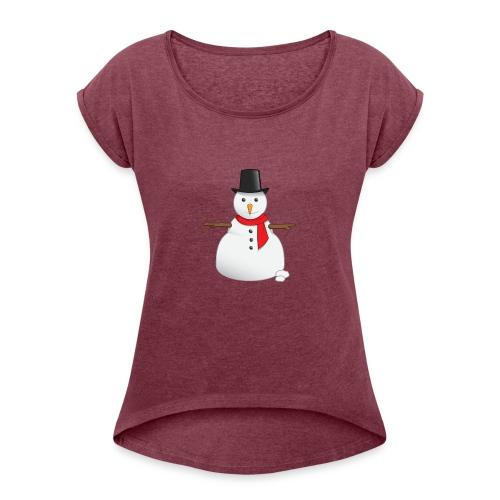 christmas-snowman-clipart-this-cute-snowman-clip-a - Women's Roll Cuff T-Shirt