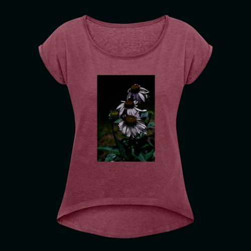 Flowers and Bee - Women's Roll Cuff T-Shirt