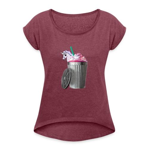 trash brigade unicorn - Women's Roll Cuff T-Shirt