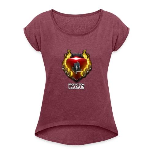 JLProduction League Logo - Women's Roll Cuff T-Shirt
