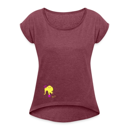 Playful Elephant - Women's Roll Cuff T-Shirt