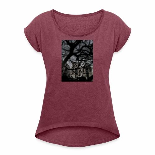 Haunted? Nah - Women's Roll Cuff T-Shirt