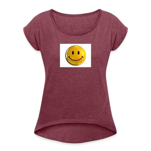 stay happy - Women's Roll Cuff T-Shirt