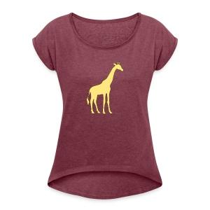 yellow giraffe - Women's Roll Cuff T-Shirt