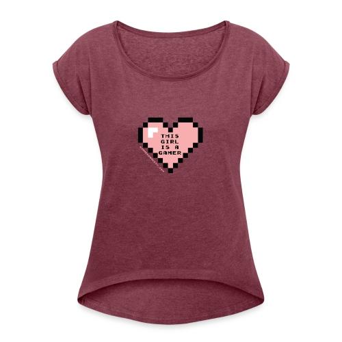 summergamertv t shirt pink black 01 - Women's Roll Cuff T-Shirt