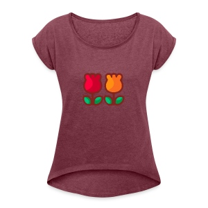 Loving Tulips - Women's Roll Cuff T-Shirt