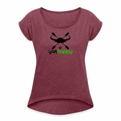 Yakhappy Logo - Women's Roll Cuff T-Shirt
