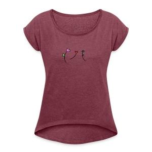 Doodle Flowers - Women's Roll Cuff T-Shirt