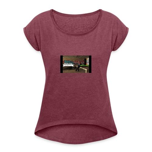 Harmin vlogs banner - Women's Roll Cuff T-Shirt