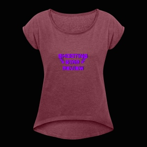 Shooting Star Review Purple Logo - Women's Roll Cuff T-Shirt