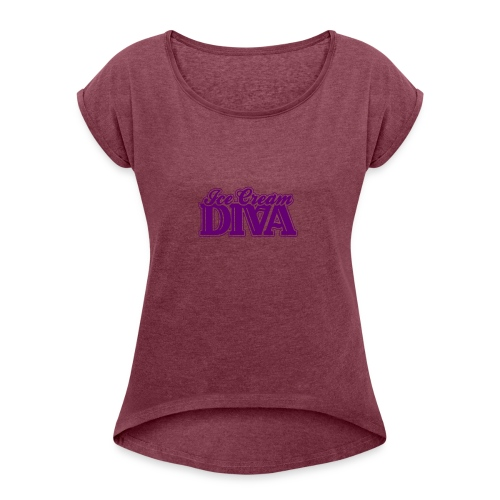 Ice Cream Diva 2 light shirts - Women's Roll Cuff T-Shirt