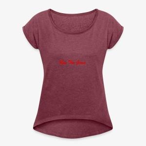 Run The Game Original Long Logo Design - Women's Roll Cuff T-Shirt
