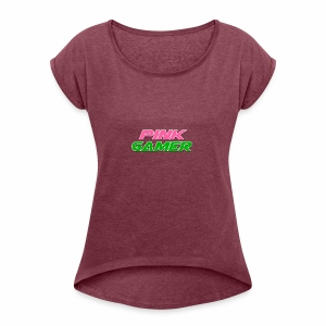 PINK Gamer Logo: Light Outline - Women's Roll Cuff T-Shirt