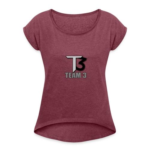 TEAM 3 LOGO - Women's Roll Cuff T-Shirt