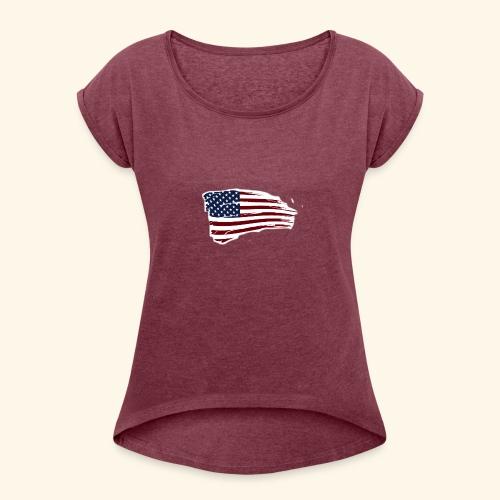 American Flag - Women's Roll Cuff T-Shirt
