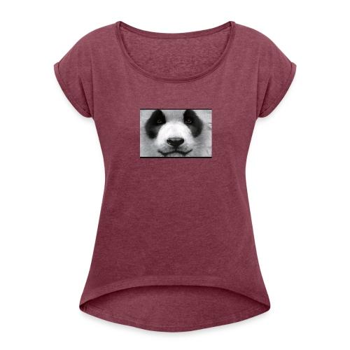 Pandaaaaaaaaaaaaaaaaaa - Women's Roll Cuff T-Shirt