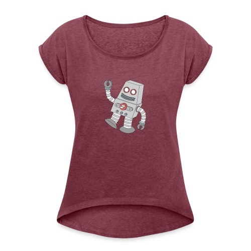 Showit Robot - Women's Roll Cuff T-Shirt