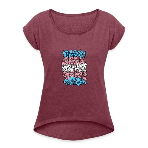 Transgender Crystallized Flag - Women's Roll Cuff T-Shirt