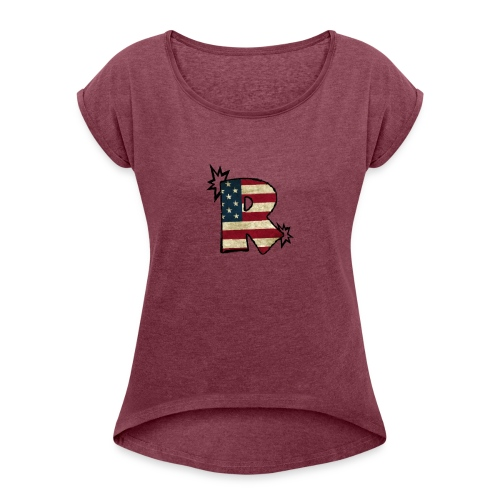 SuppzReviews R Logo - Women's Roll Cuff T-Shirt