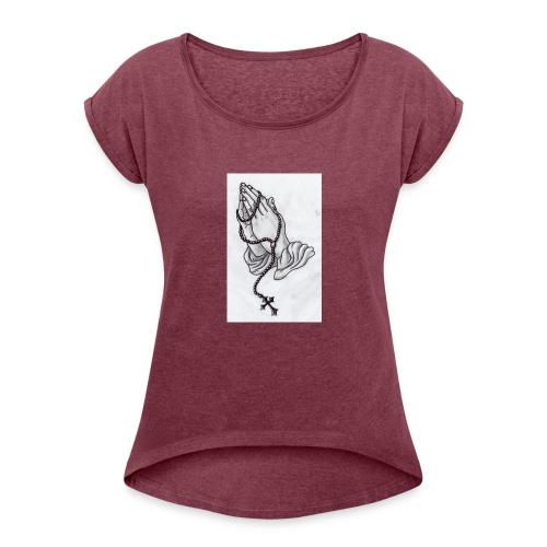 praying hands - Women's Roll Cuff T-Shirt
