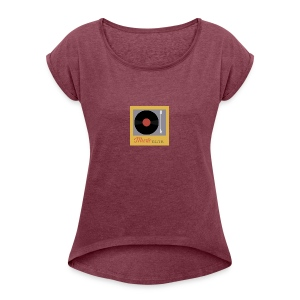Music Truth Retro Record Label - Women's Roll Cuff T-Shirt